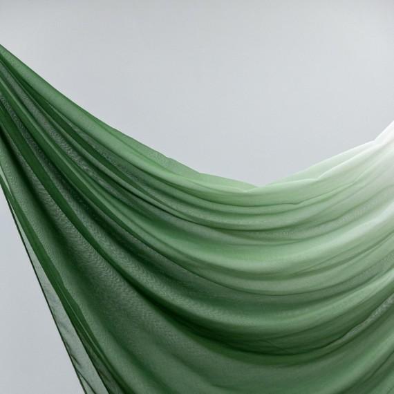 Perdea din in (tip borangic), degrade, verde