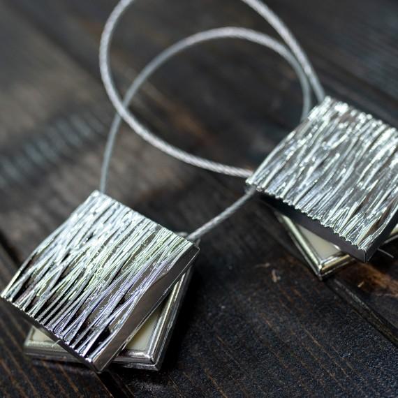 Magnet decorativ patrat, argintiu