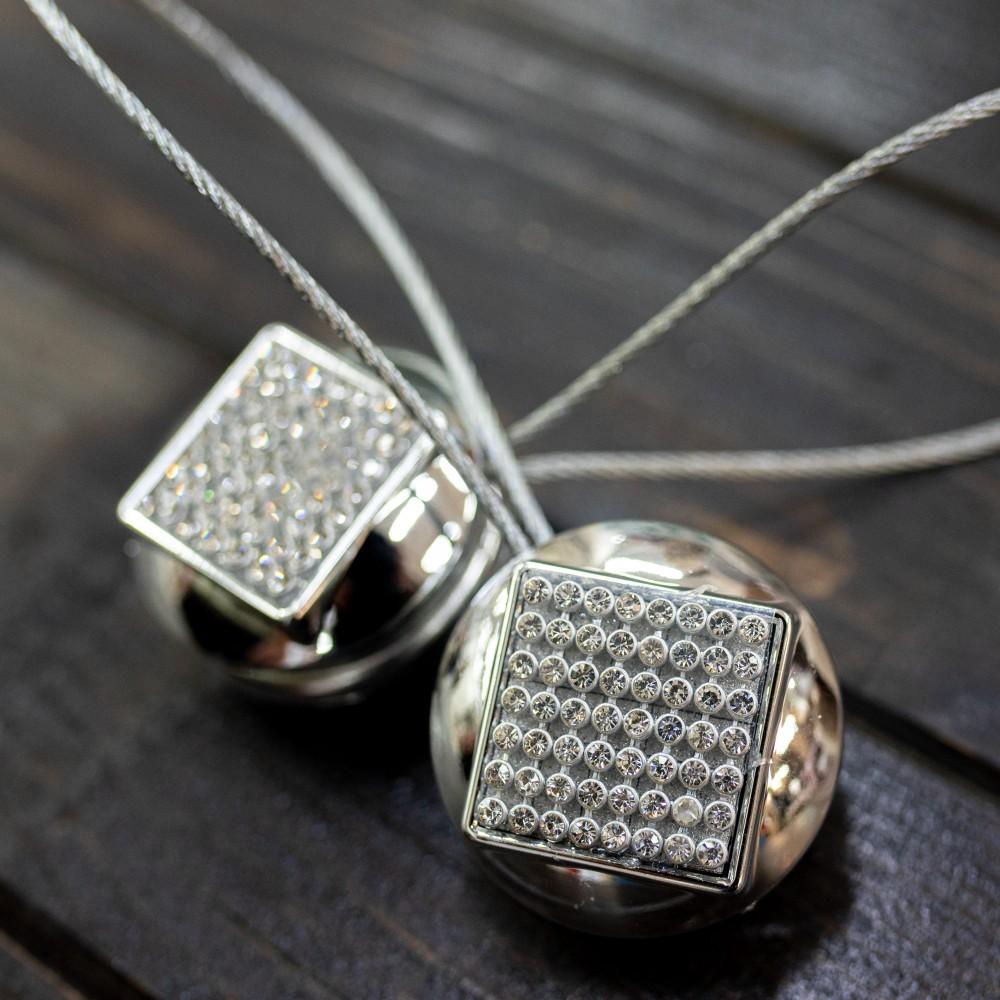 Magnet decorativ rotund, argintiu