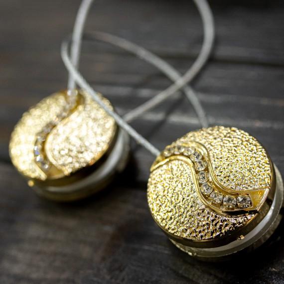 Magnet decorativ rotund, auriu striat